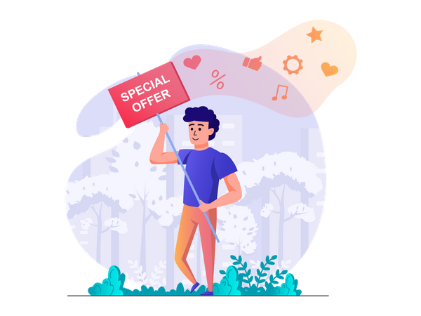 Man with special offer board Illustration