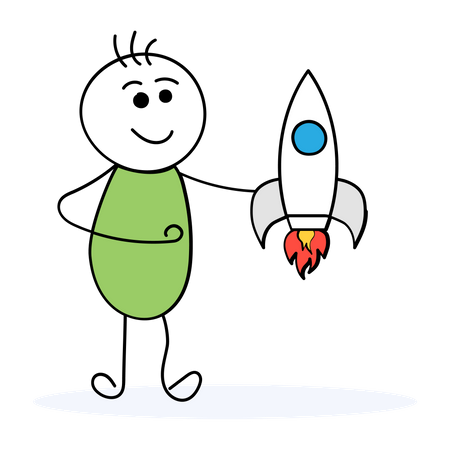 Man with startup plan Illustration