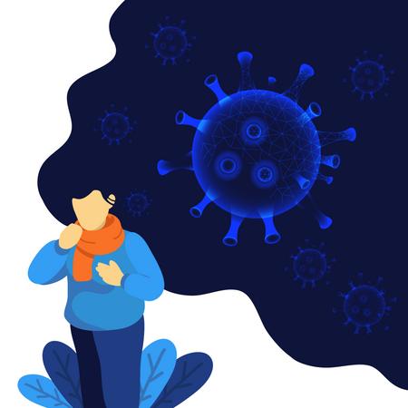 Man with symptoms of corona virus infection Illustration