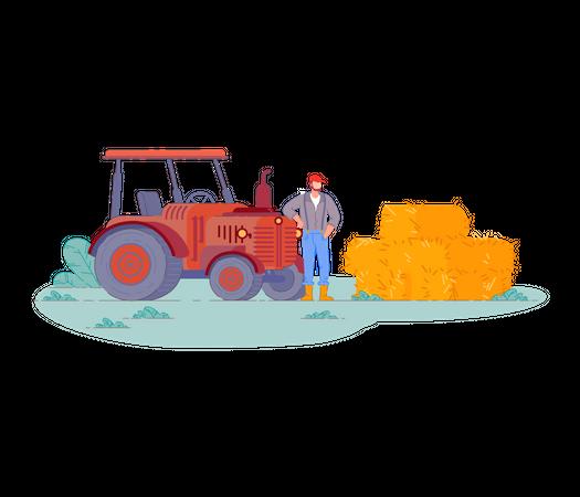 Man with tractor gathering hay in haystack Illustration