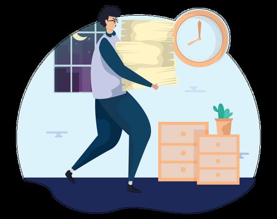 Man with workload Illustration