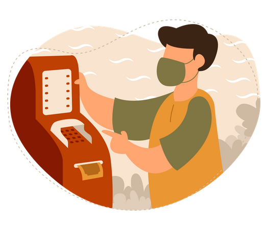 Man withdrawing money from ATM machine Illustration
