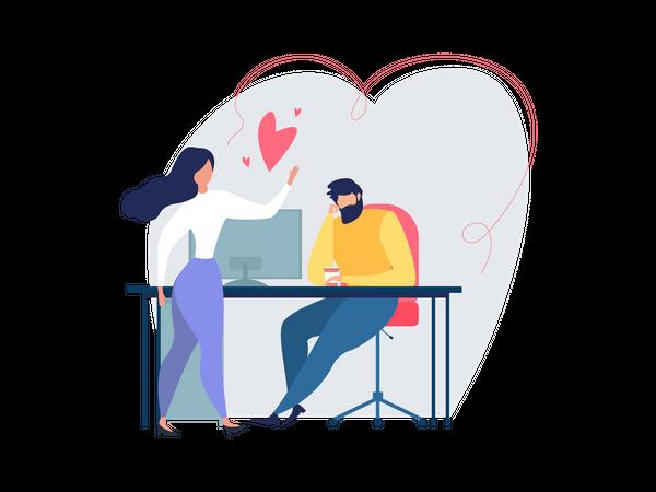 Man Woman Flirt Love Relationship at Work Illustration
