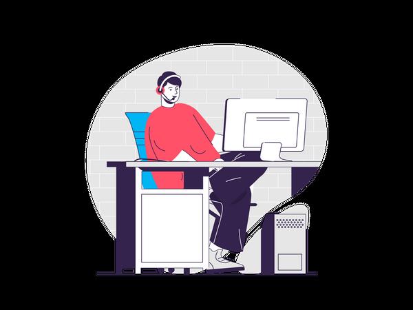 Man working at customer care Illustration