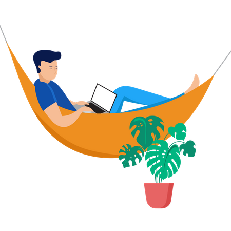 Man working from home Illustration