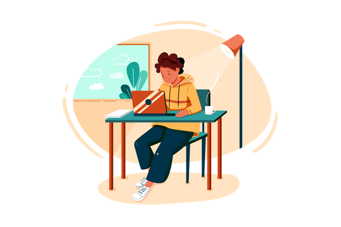 Man working on business strategy Illustration