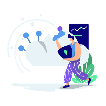 Man working on cloud data security Illustration