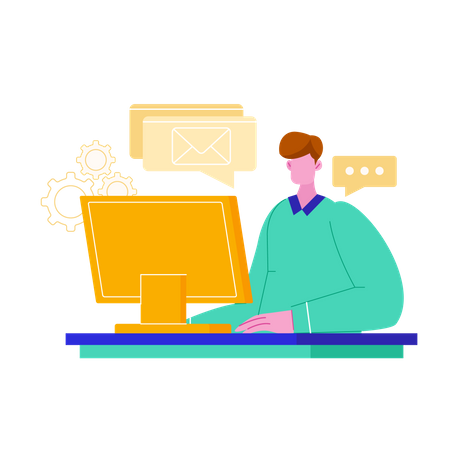 Man working on computer replying mail Illustration