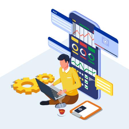 Man working on digital marketing strategy Illustration