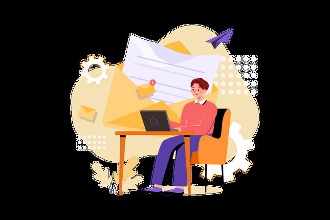 Man working on email marketing Illustration