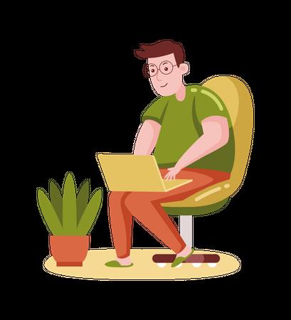 Man working on laptop Illustration