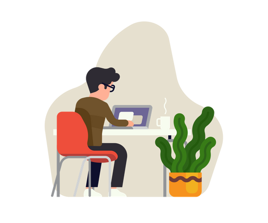 Man working on laptop seeing from behind Illustration