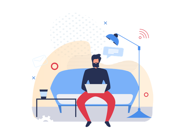 Man working on laptop while seating on couch Illustration