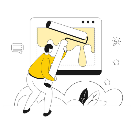 Man working on Layout Building Illustration