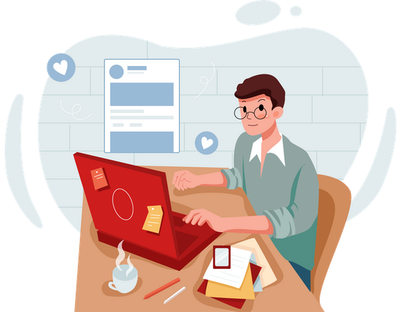 Man Working on Social media Influencing Illustration
