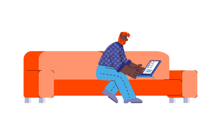 Man working remotely from home using laptop Illustration