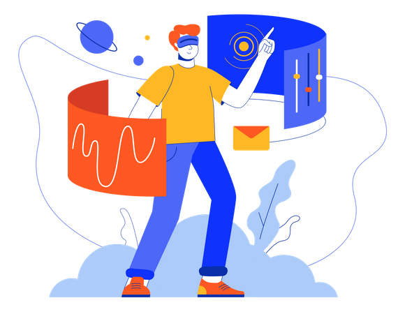 Man Working Using VR Tech Illustration