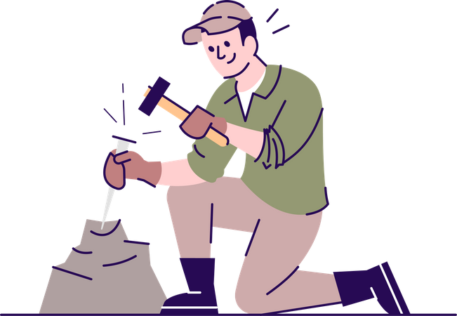 Man working with chisel and hammer Illustration