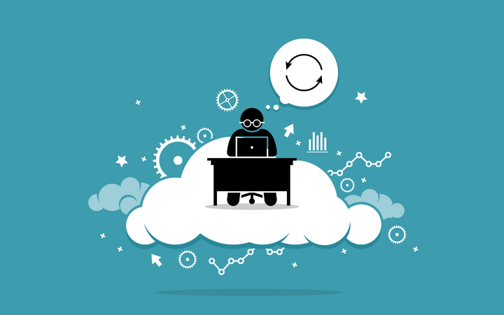 Man working with computer on the cloud Illustration