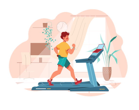 Man works out on treadmill Illustration