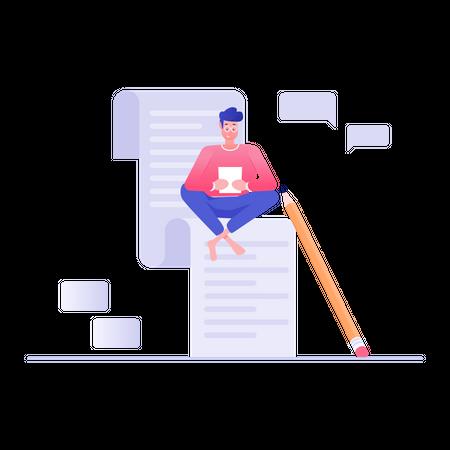 Man Writing Blog Illustration