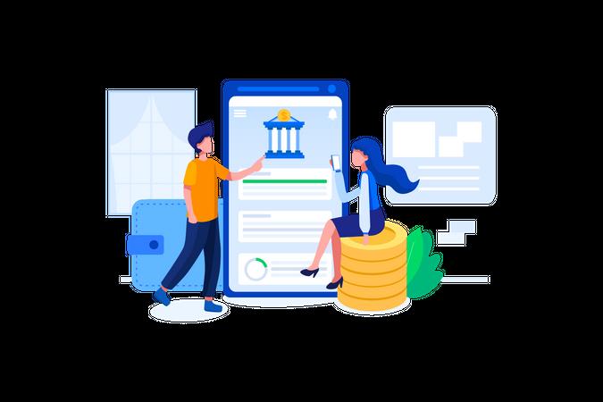 Manage bank account using smartphone Illustration