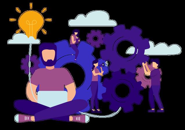 Management team working on creative idea Illustration