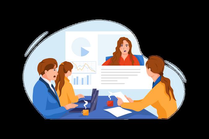 Management team working on finance account Illustration