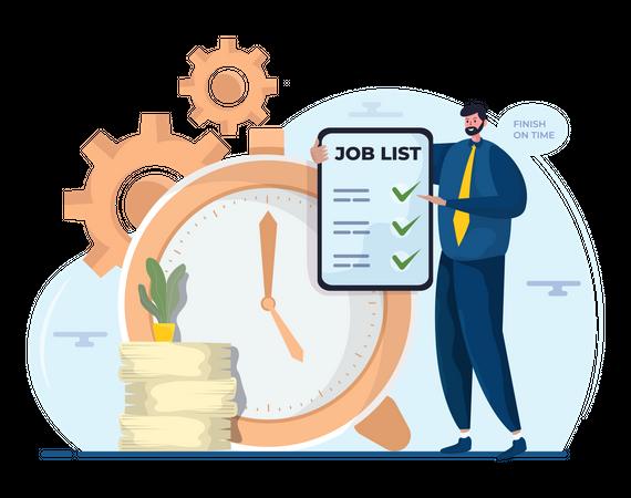 Manager building job task list Illustration