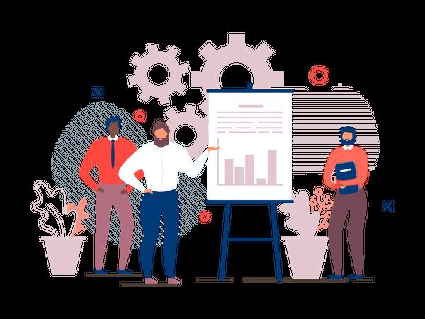 Manager giving Presentation on Co-working Benefits Illustration