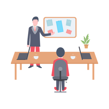 Manager giving presentation on workflow Illustration