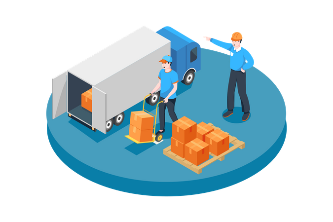 Manager ordering worker to put boxes in truck Illustration