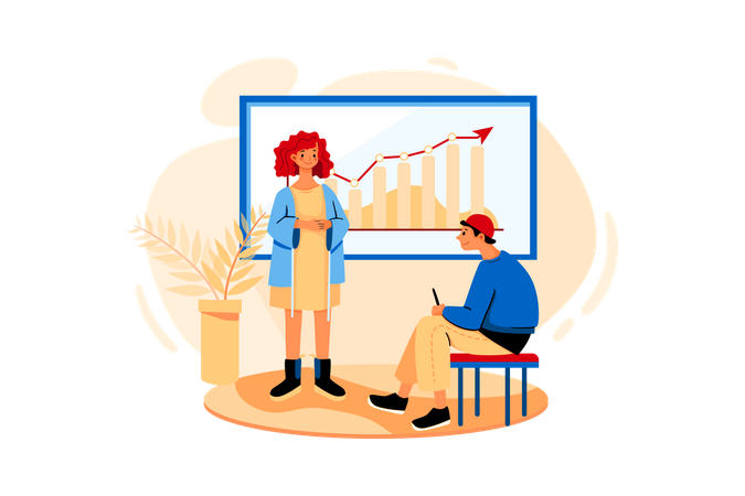 Manager presenting a project to client in a meeting room Illustration