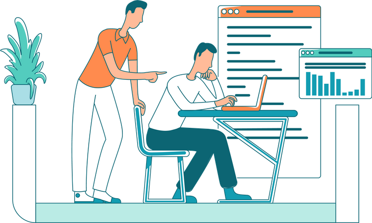 Manager with staff member Illustration