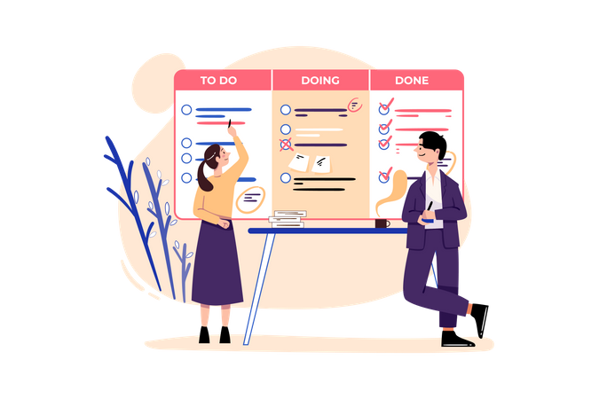 Managers checking task list Illustration