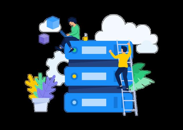 Managing Big Data & Server Illustration