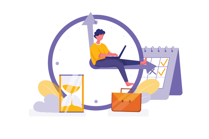 Managing time and schedule concept Illustration