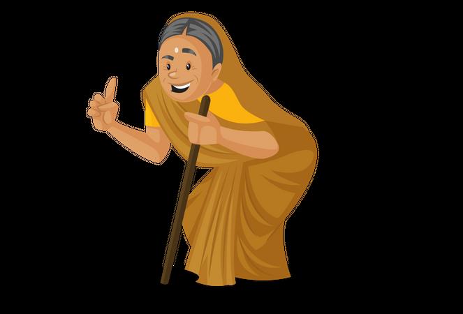 Manthra raising finger while holding stick Illustration