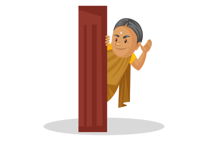 Manthra saying hello from behind the door Illustration