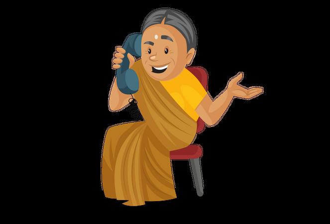 Manthra talking on phone Illustration