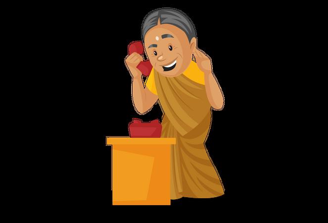 Manthra talking on telephone Illustration
