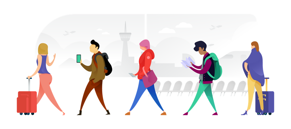 Many Nationalities Walking Across With Their Bags Illustration