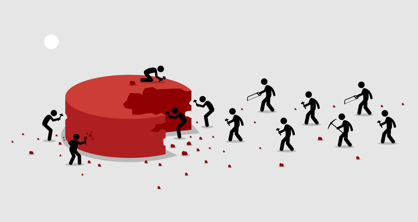 Many people rushing and scrambling to cut off a portion from a big piece of pie for themselves Illustration