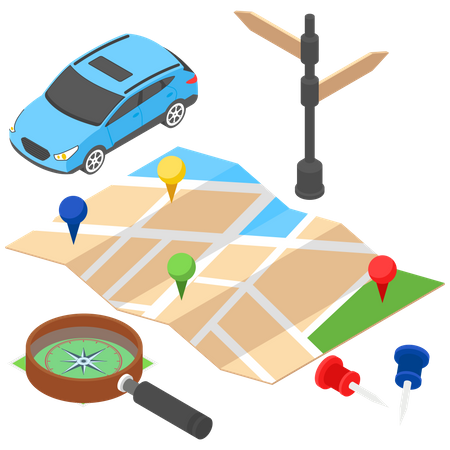 Map and Direction Illustration