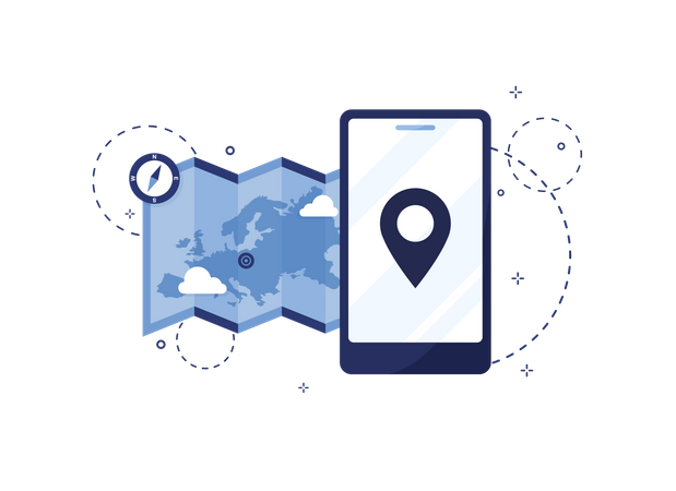 Map and mobile Location marker Illustration