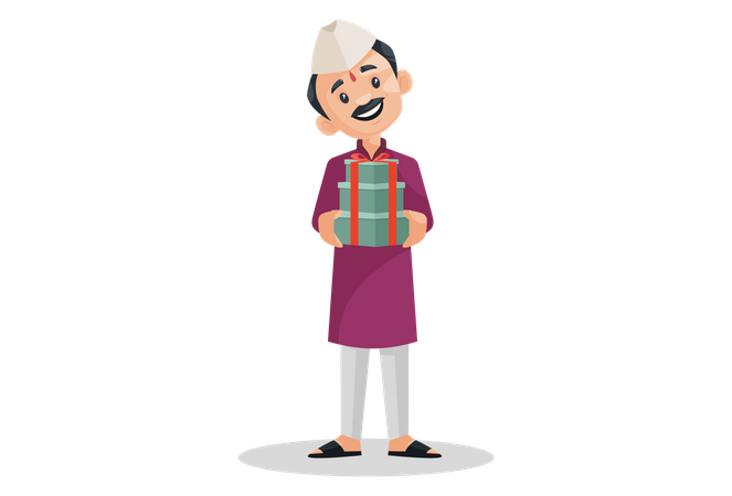 Marathi man is holding gifts in hands Illustration