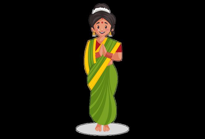 Marathi woman doing Namaste Illustration