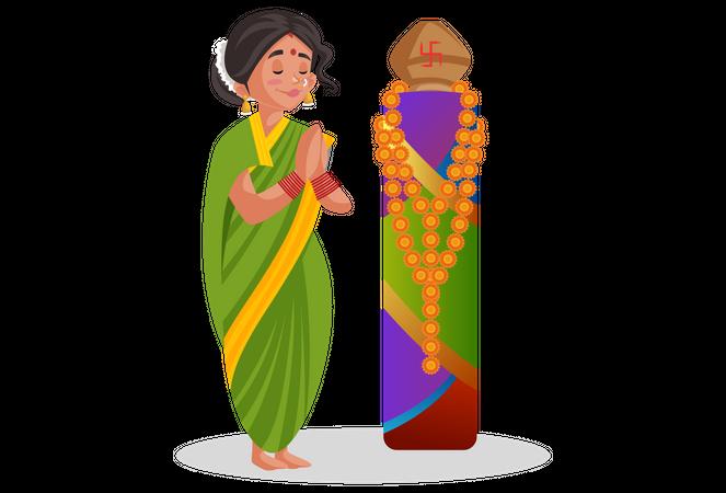 Marathi woman is doing worship Illustration