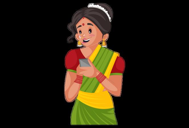 Marathi woman using smartphone Illustration