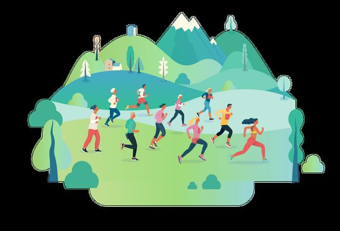 Marathon race Illustration